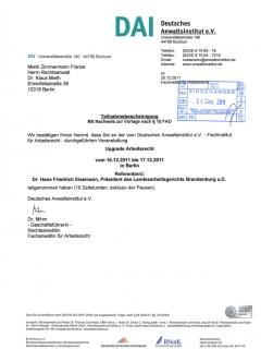 Fortbildung Arbeitsrecht 2011 12 20