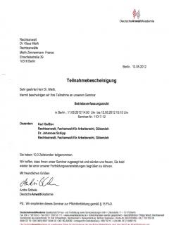 Fortbildung Arbeitsrecht 2012 5 12