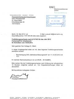 Fortbildung Arbeitsrecht 2012