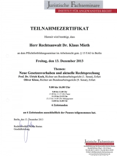 Fortbildung Arbeitsrecht 2013 12 13