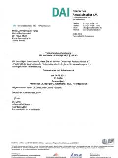 Fortbildung Arbeitsrecht 2013 3 25