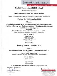 Fortbildung Arbeitsrecht 2014 12 13