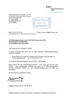 Fortbildung Arbeitsrecht 2014