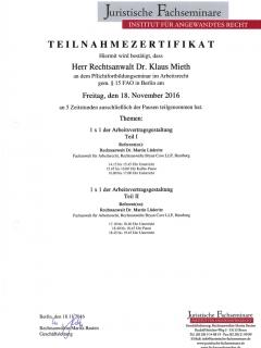 Fortbildung Arbeitsrecht 2016 11 18