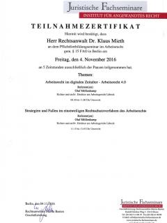 Fortbildung Arbeitsrecht 2016 11 4